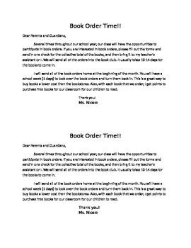 Book Order Sheet