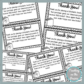 Book Order Thank You Notes
