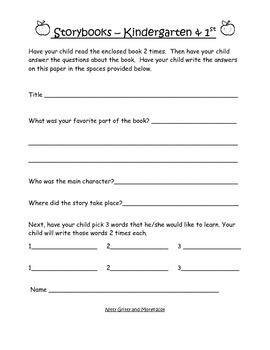 Book Packet Worksheets for Classroom or Homework