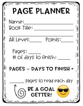 Book Page Planner
