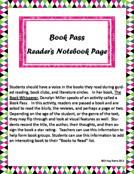 Book Pass Reader's Notebook Page