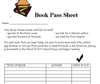 Book Pass Sheet
