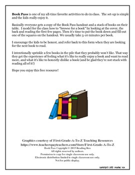 Book Pass Worksheet *Back To School*