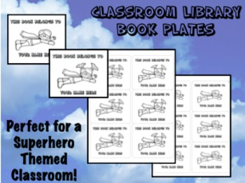 Book Plates for Classroom Library - Superhero Themed - Bac