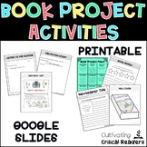 Book Project Activities and Menu with Google Slides Option