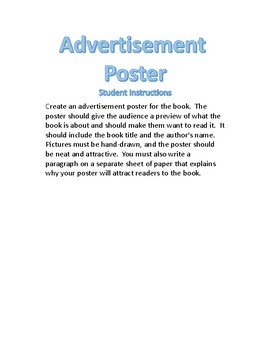 Book Project: Advertisement Poster *Includes Rubric