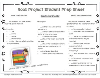 Book Project / Book Report - Adjustable Student Prep Sheet