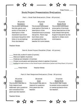 Book Project / Book Report - Teacher's Assessment / Rubric