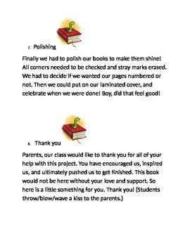 Book Project Celebration Student Presentation Cards