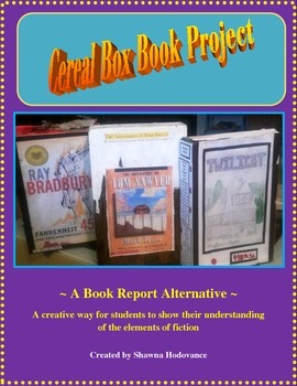 Book Report Project: Cereal Box ~Elements of Fiction~ Includes rubric