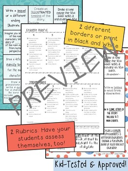 Book Project Choice Board with Rubrics