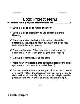 Book Project Menu- George's Secret Key to the Universe