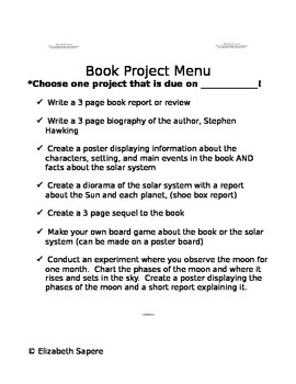 Book Project Menu- George's Secret Key to the Universe