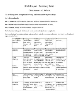 Book Project Report Rubric Cube Worksheet Handout Printable