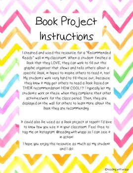 Book Project or Recommended Reads Graphic Organizer