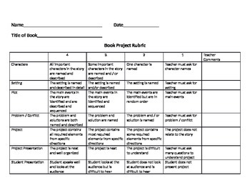 Book Project with Rubric