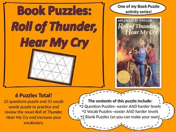Book Puzzles: Roll of Thunder, Hear My Cry - Questions and Vocabulary