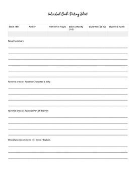 Book Rating Form FREEBIE