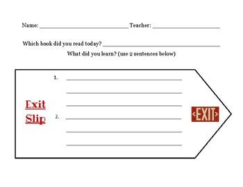 Book Reading Exit Slip