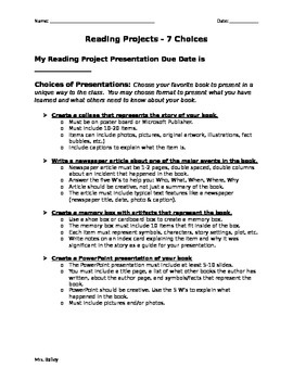Book Reading Projects - 7 Choices for Students