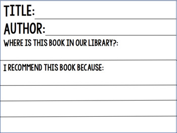 Book Recommendation Card for Student use