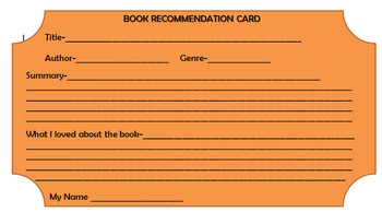 Book Recommendation Card for bulletin board