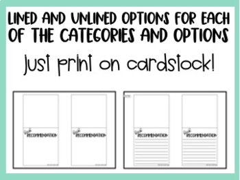 Book Recommendation Cards for Middle Grade Classroom Libraries