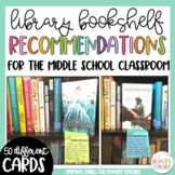 Middle School Classroom Library Book Recommendation Cards | Library Decor