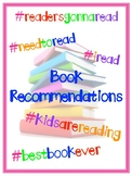 Book Recommendation Form & Binder Cover (Hashtag theme)