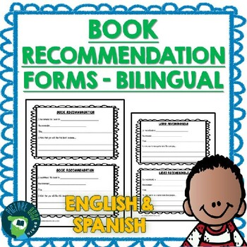 Book Recommendation Forms BILINGUAL English and Spanish