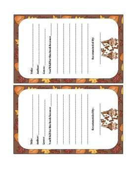 Book Recommendation Forms (Fall theme)