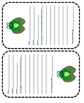Book Recommendation Forms (Frog Theme)