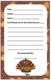 Book Recommendation Forms (Thankful/Thanksgiving theme)