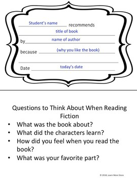 Book Recommendation Forms for Students: Fiction and Non-fiction