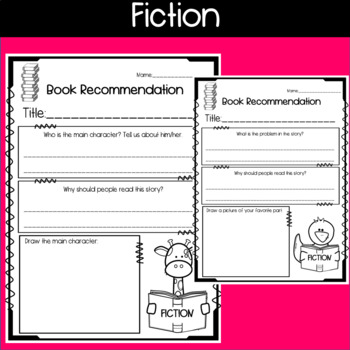 Book Recommendation Sheets for Fiction and Non-Fiction