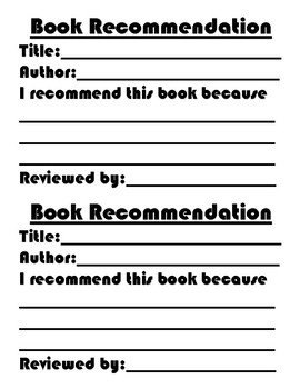 Book Recommendation Slip