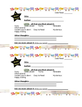 Book Recommendation Template Worksheets & Teaching Resources
