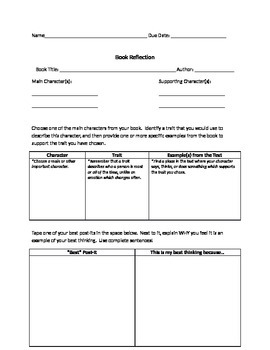 Book Reflection Report With Scaffolding and Rubric