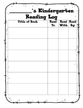 Kindergarten Reading Log Worksheets & Teaching Resources | TpT