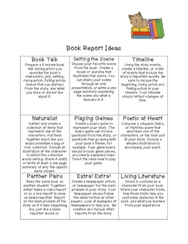 Multiple Intelligence Book Report Menu