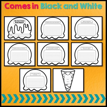 Creative Book Report (Ice Cream Template with Rubric)