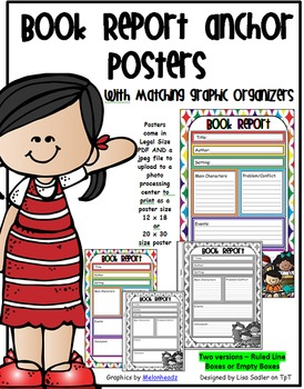 Book Report Anchor Chart with Matching Graphic Organizer