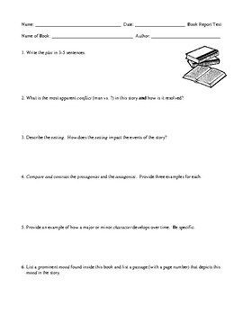 Book Report Assessment for Middle School Students
