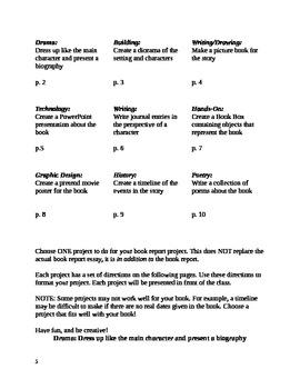 Book Report Assignment & Rubrics --- 1 Essay + 9 Different Extensions