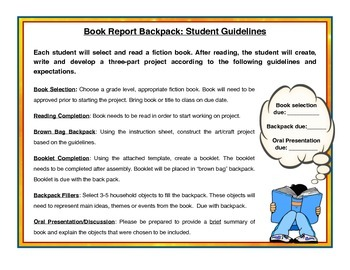 Book Report -  Brown Bag Backpack Project (Any Fiction Book)