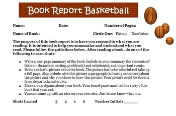 Basketball Reading Book Report