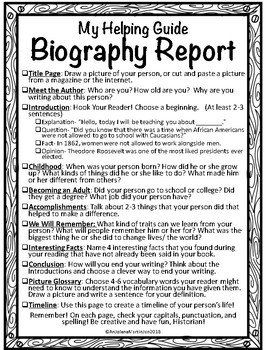 Book Report: Biography- Primary K-3 Informational Writing!