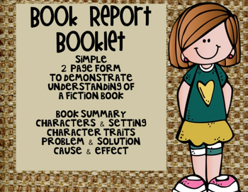 Book Report Booklet - Book Summary, Character Traits, Caus