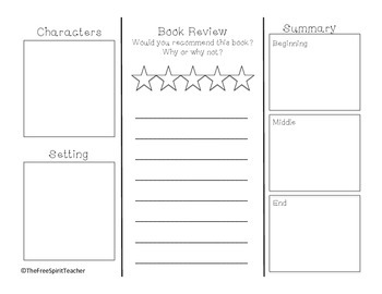 book report brochure template by the free spirit teacher tpt