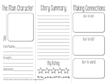 book report brochure template book report brochure template by edventures at home tpt